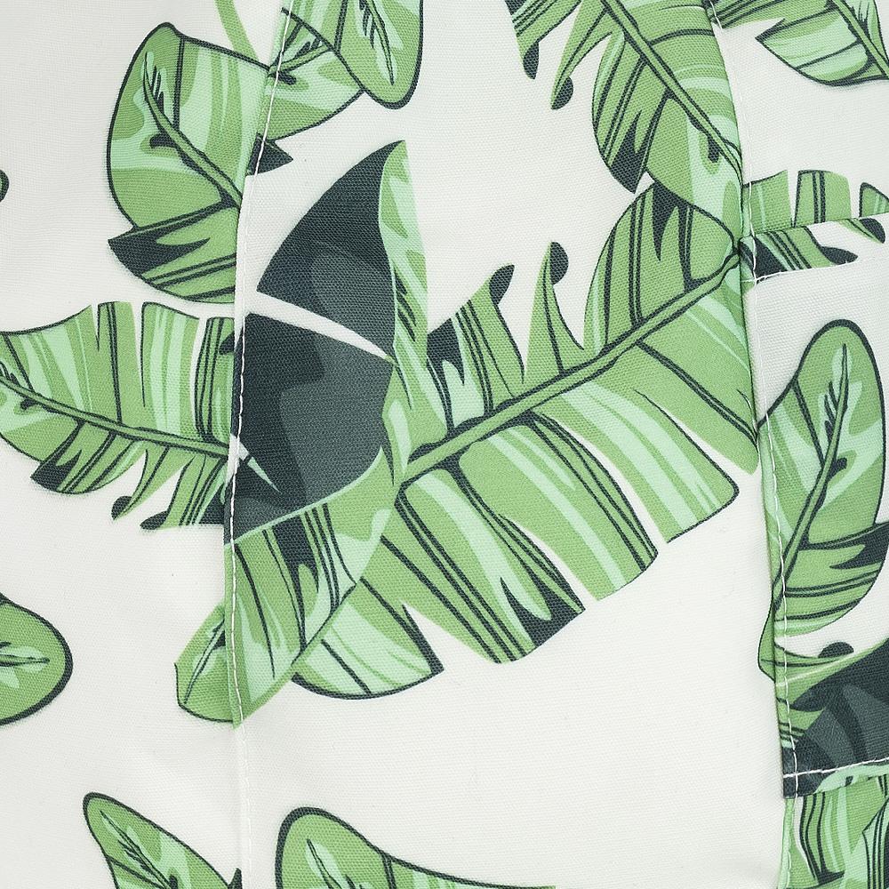 Close up of the tiki leaf print detail