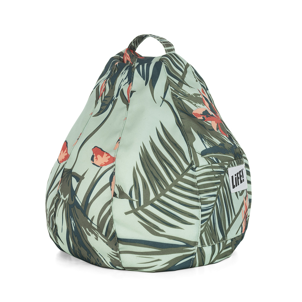Dark green and orange tropical print on a light green base iCrib stand for your iPad showing the storage pocket and carry handle