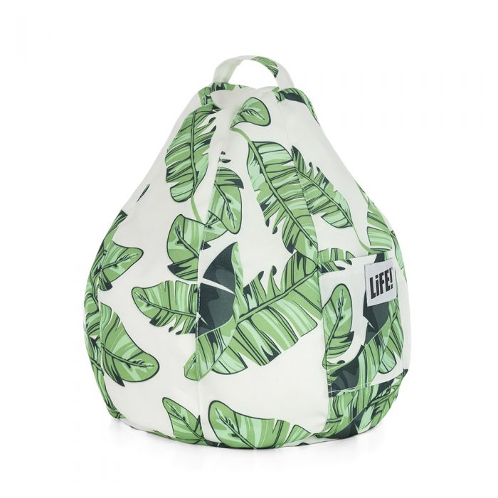 Tropical leave print iCrib showing the storage pocket and carry handle
