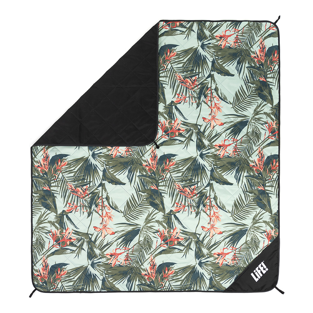 Waikiki print adventure mat picnic blanket from above showing the hanging loops and privacy pocket