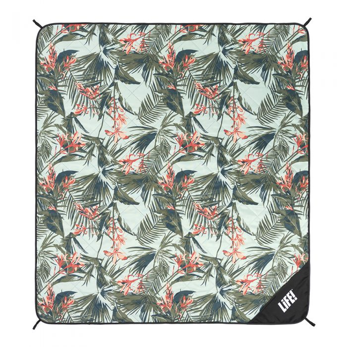 Tropical waikiki print picnic mat adventure blanket from above showing the scale of the dark green and coral print