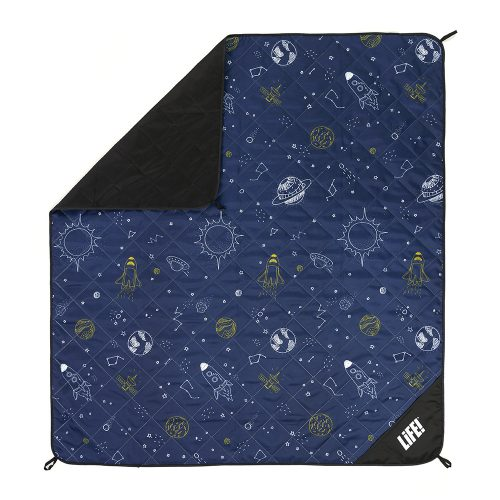 Space buddy picnic blanket from above showing the hanging loops and privacy pocket