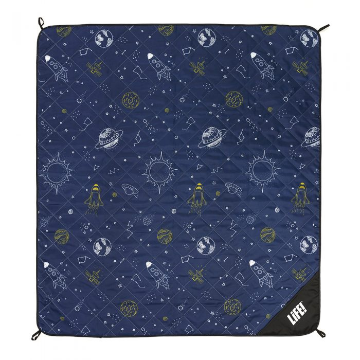 Space buddy picnic rug adventure mat showing the scale of the white and yellow space print on the dark blue mat