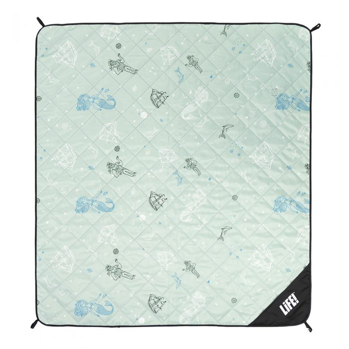Sea of love adventure blanket picnic mat from above showing the scale of the nautical print