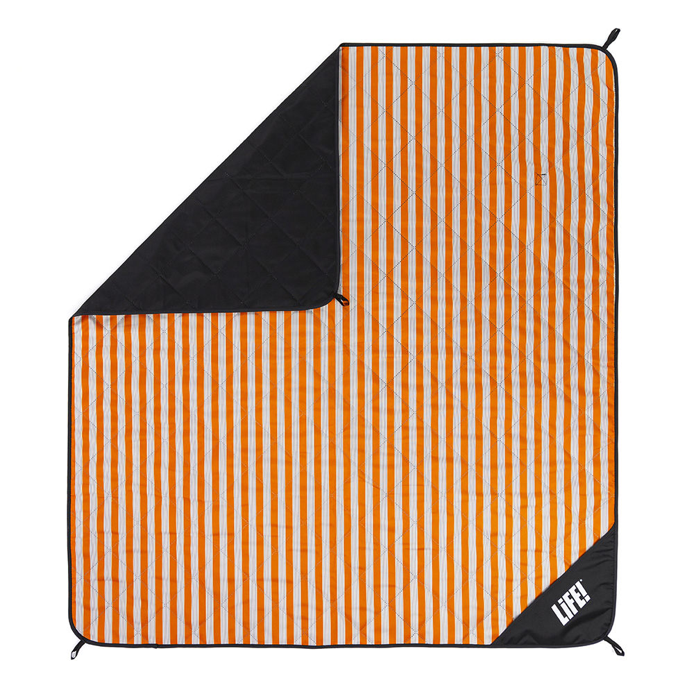 Retro orange striped picnic blanket adventure mat from above showing hanging loops and privacy pocket