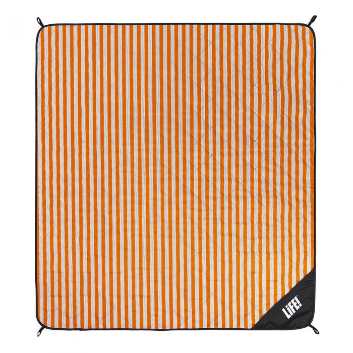 Retro orange striped picnic blanket adventure mat from above showing scale of stripe