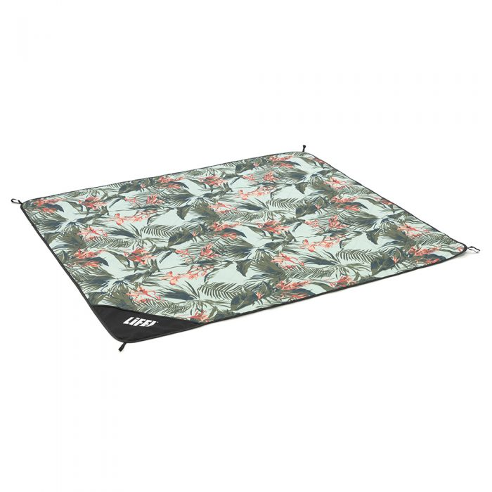 Oblique view of the waikiki print adventure mat picnic blanket
