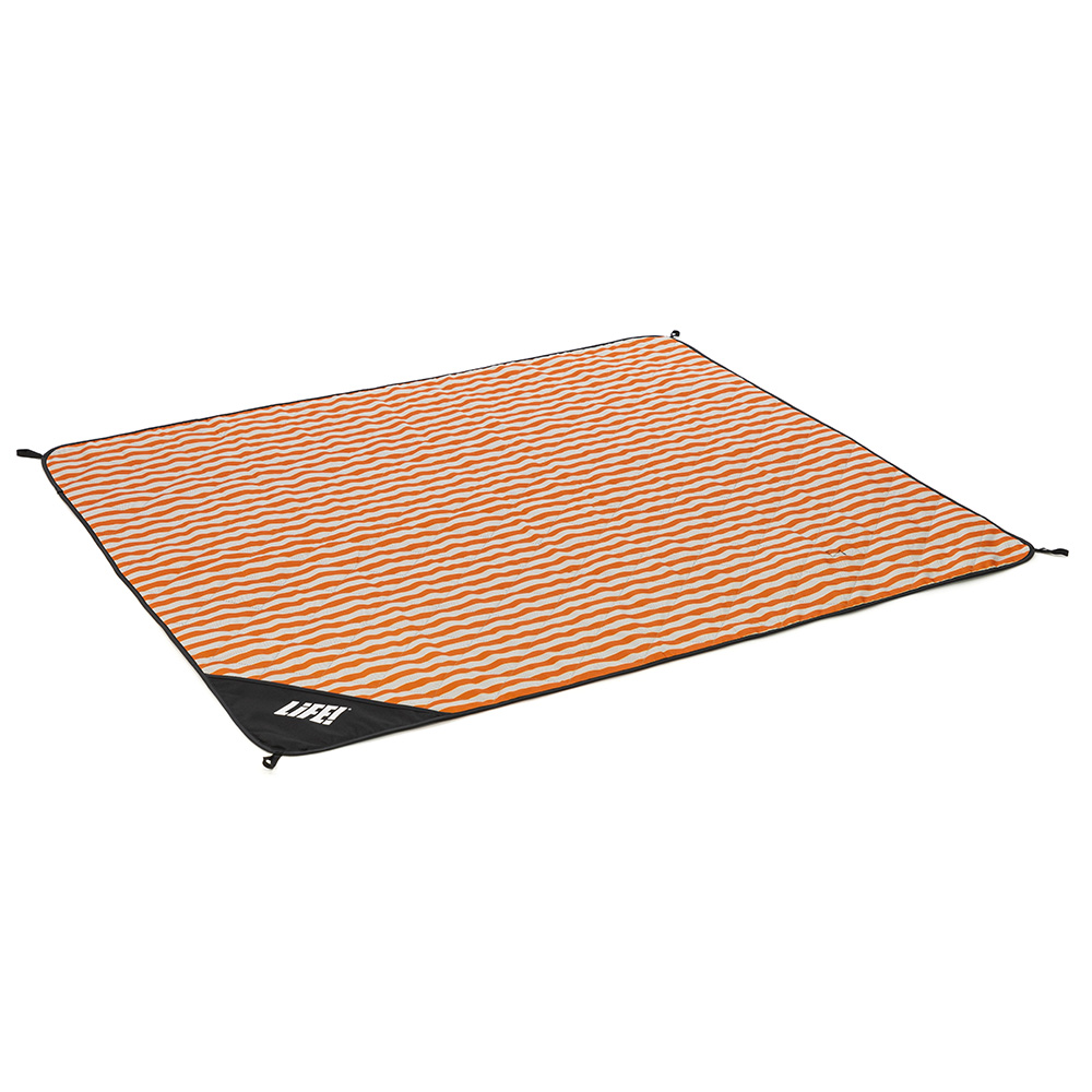 Oblique view of the orange striped retro print adventure mat picnic blanket
