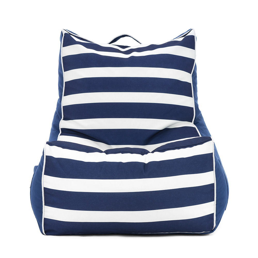 Front view of the navy and white large scale stripes on the nautical coastal lounger