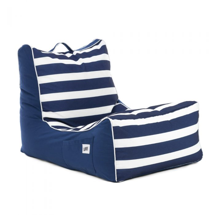 Oblique view of the nautical striped coastal lounger patio bean bag with large scale navy and white stripes