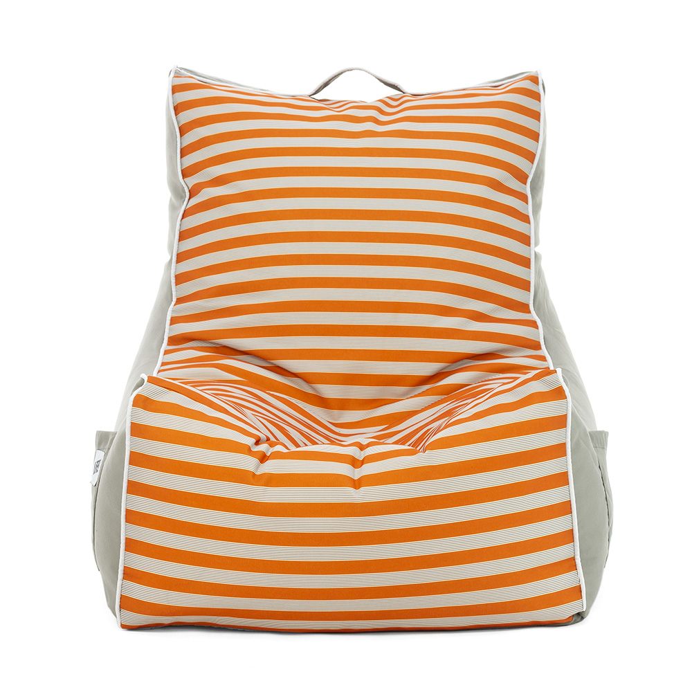 Front view of the retro coastal lounge bean bag chair showing the horizontal striped centred panel