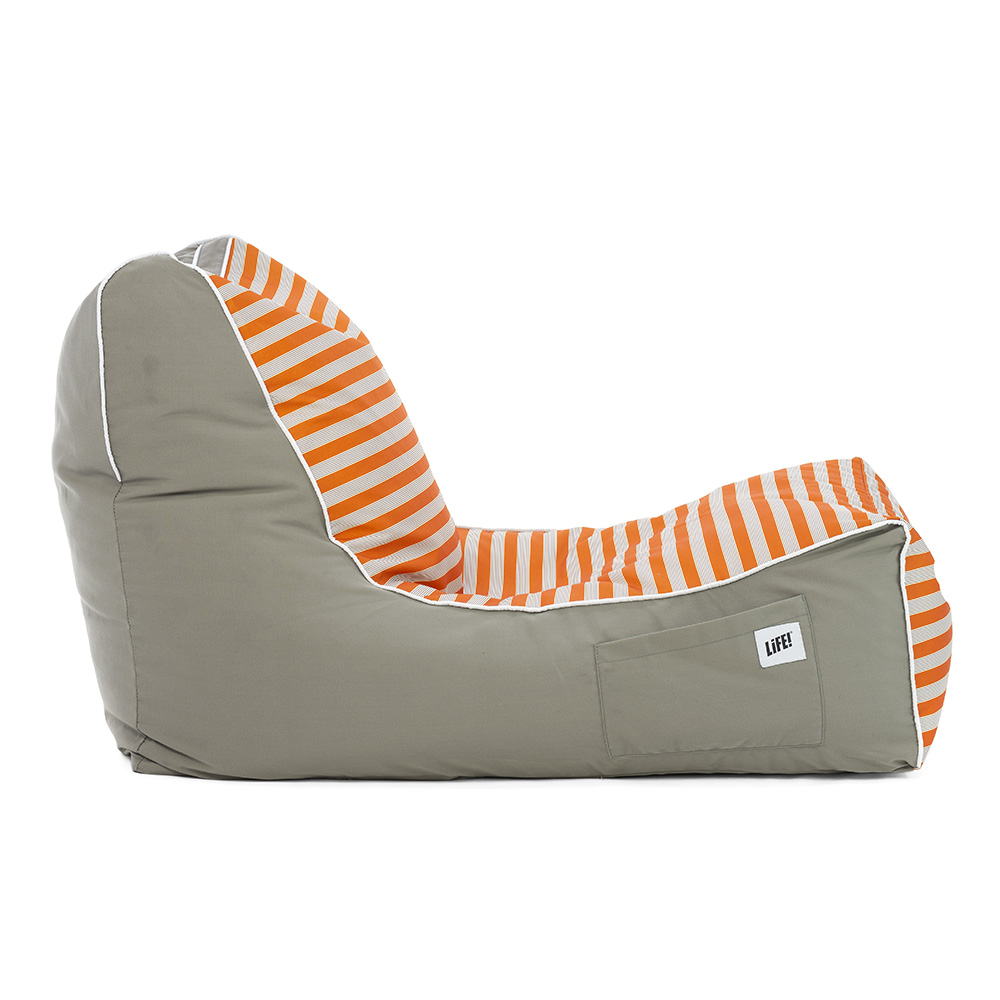 Side view of the retro print coastal lounger bean bag showing the shape, contrast side panels and pocket