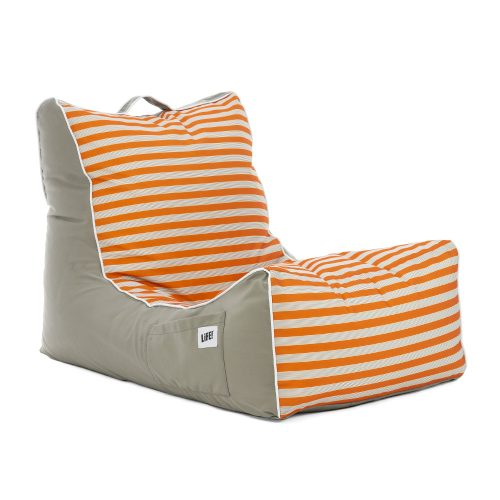Oblique view of the retro stripe coastal lounger bean bag with horizontal stripe