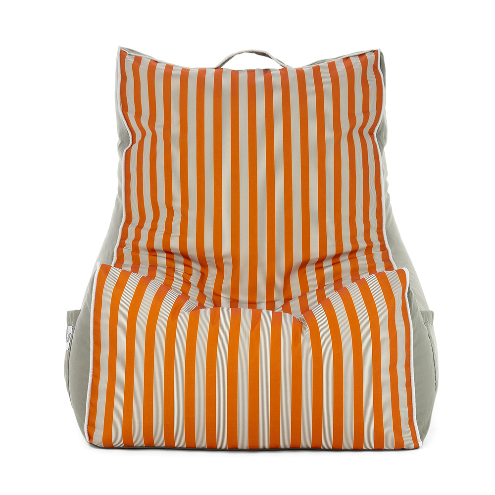 Front view of the retro stripe coastal lounger bean bag