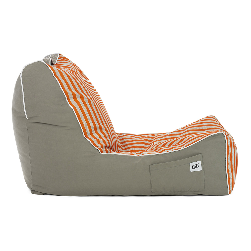 Side view of the retro print coastal lounger bean bag showing contrast piping and side pocket