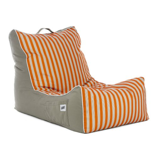 Oblique view of the retro print coastal lounger bean bag
