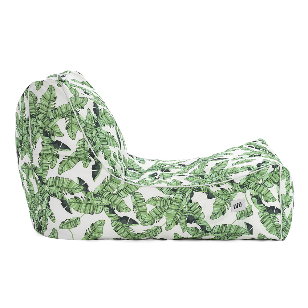 Side view of the tiki coastal lounger bean bag