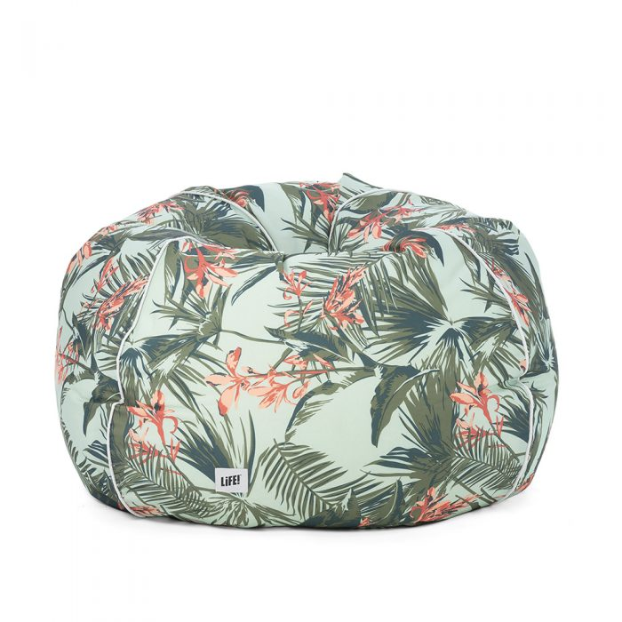 Front view of waikiki print bean bag with palm leaves and bird of paradise flowers