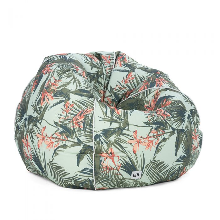 Waikiki print bean bag showing contrast piping and logo