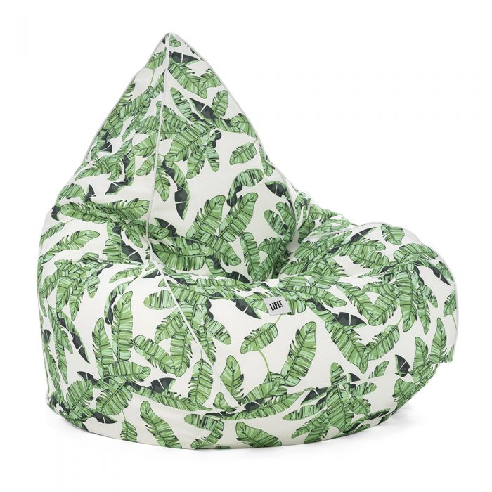 Tiki print tear drop ben bag with green leaves on a crisp white base