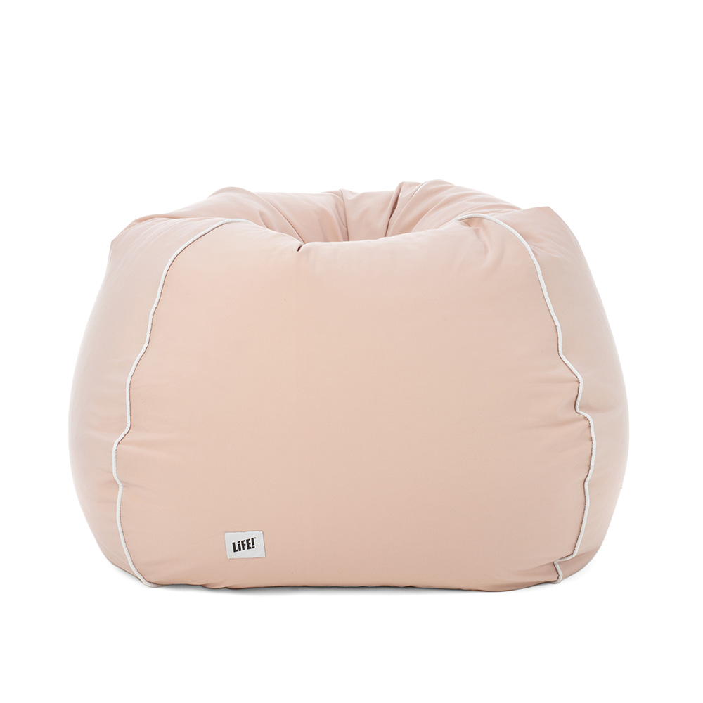 soft peach coral pink colored tear drop bean bag