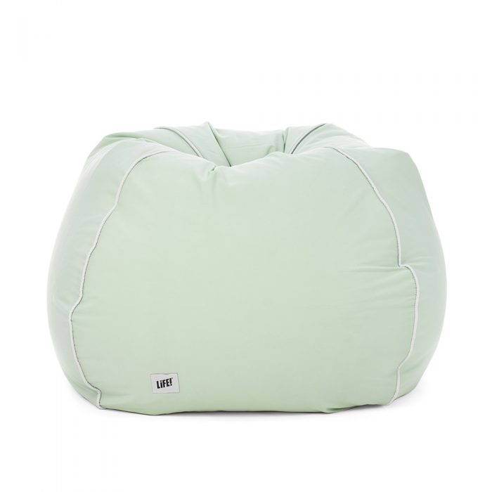 Front view of the teardrop adult sized bean bag in tropical green.