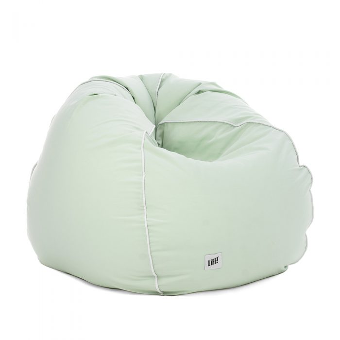Squooshed teardrop shaped bean bag in tropical green