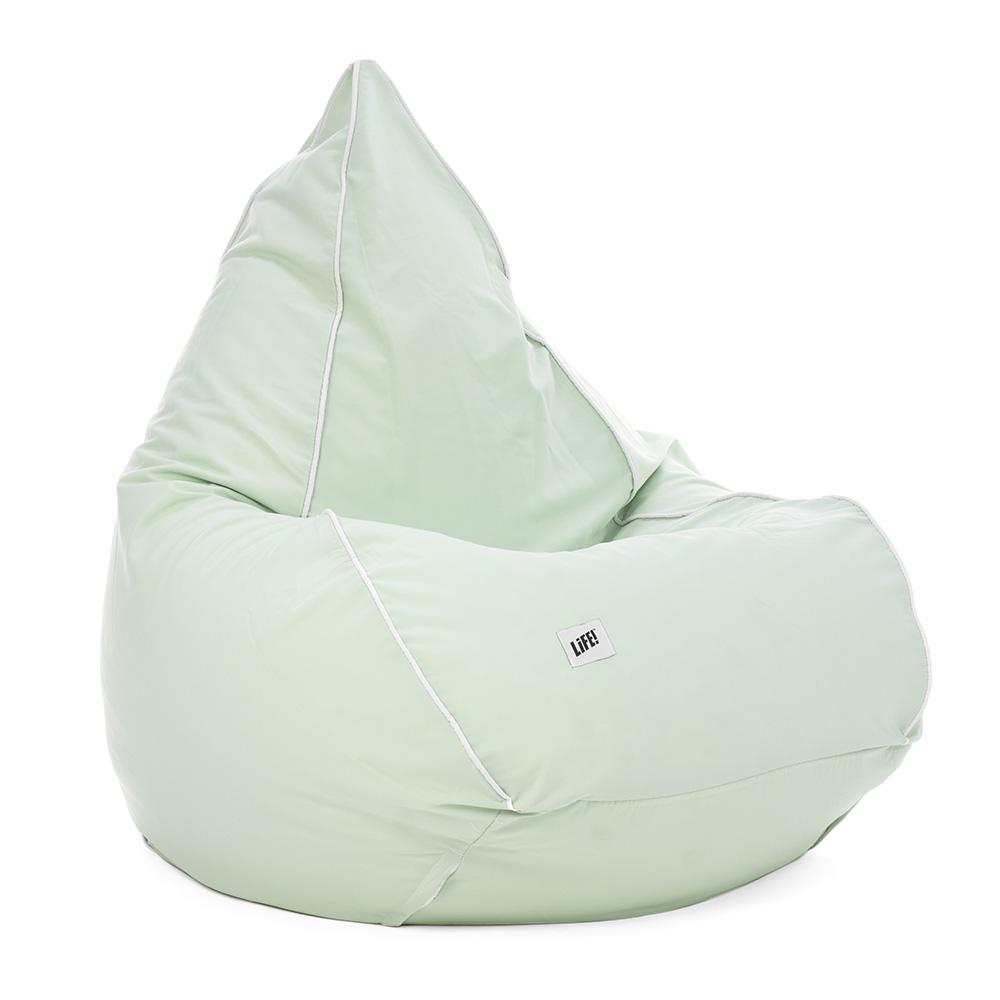 Tropical green adult tear drop bean bag. Shows shape and contrast piping