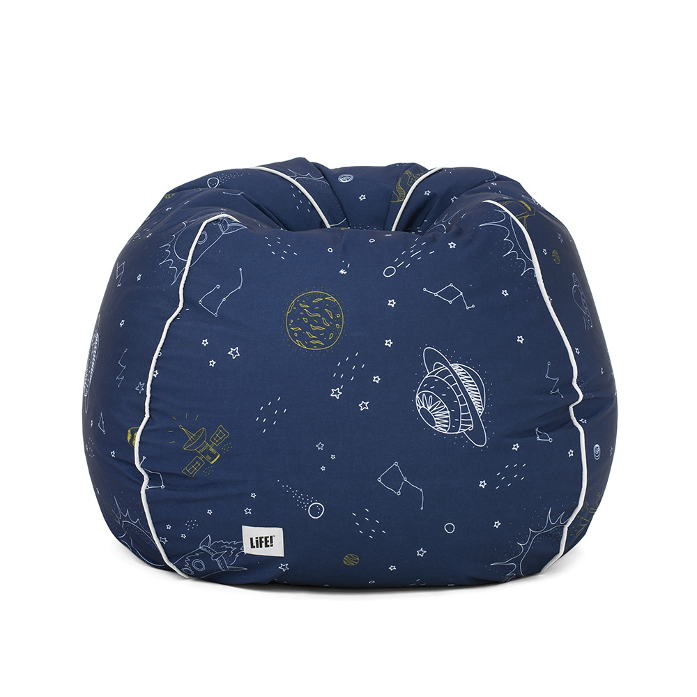 Front view of the space buddy kids bean bag. Cute space line print to fuel imaginations