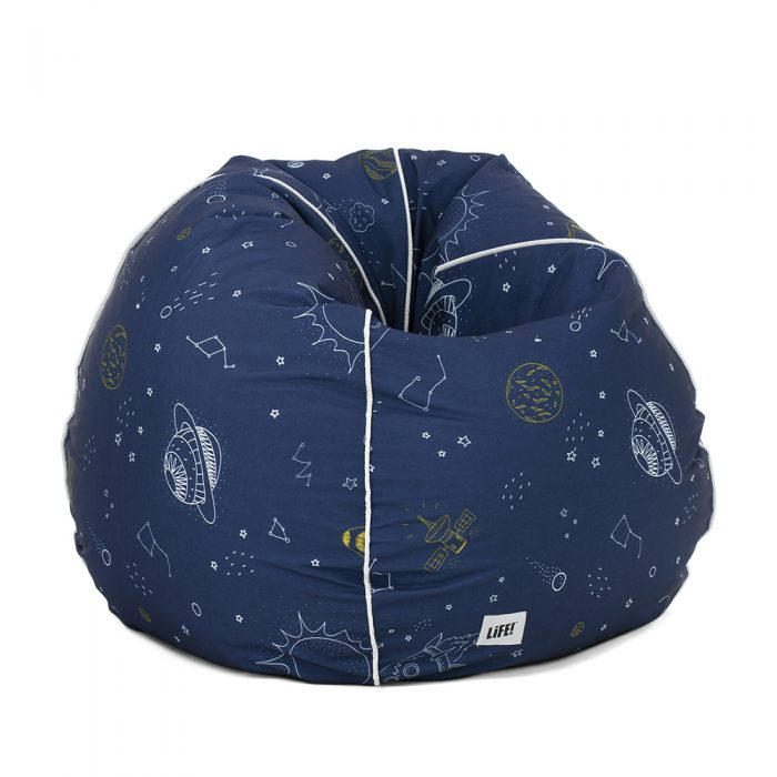 Space buddy kids bean bag. Dark blue base with white and yellow print include stars, constellations, rockets, planets and satellites.