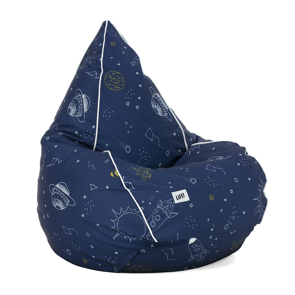 Space buddy print tear drop kids bean bag. Dark blue bace with space print in white and white piping