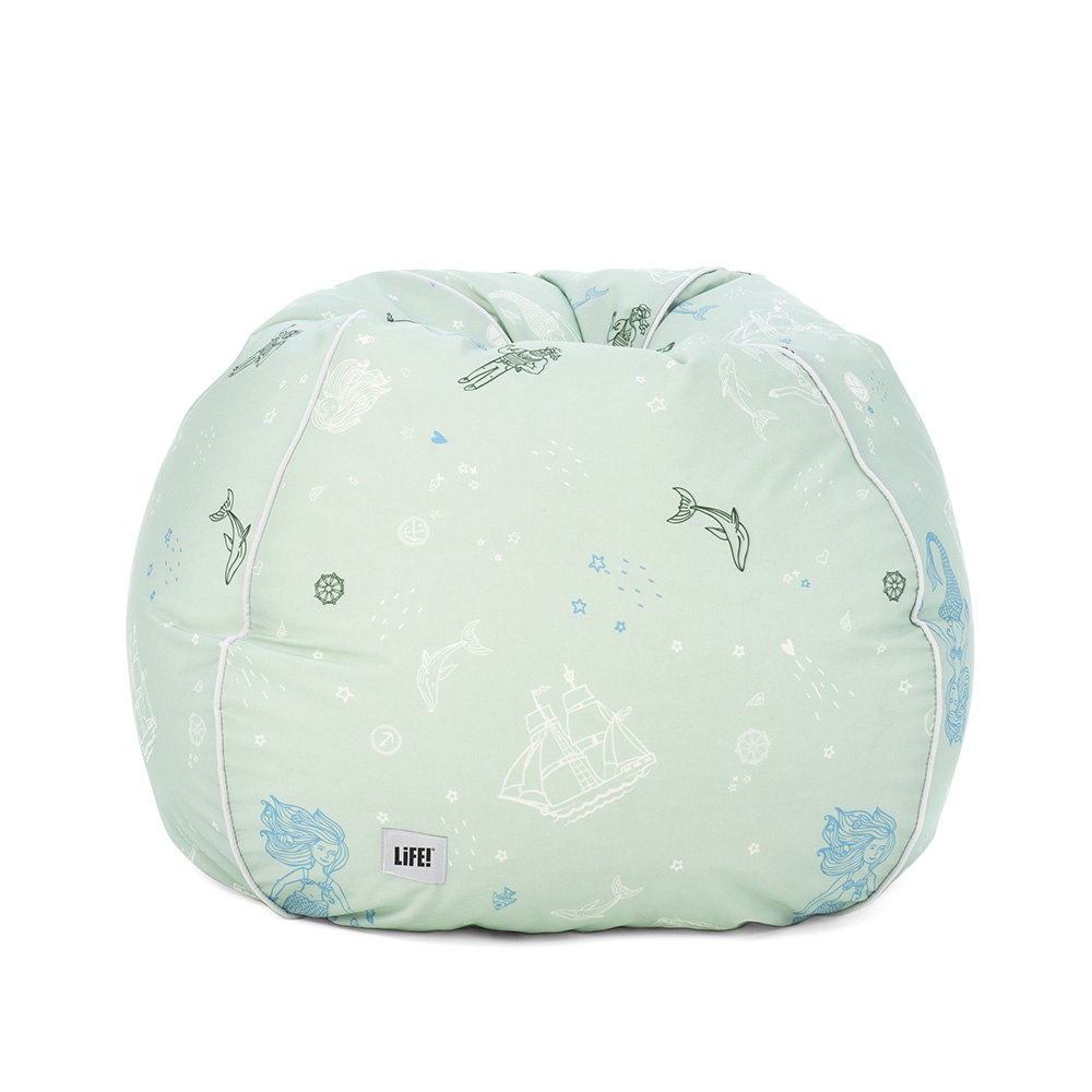Sea of love teardrop bean bag. Soft green with kids nautical print including mermaids, whales and sailing ships