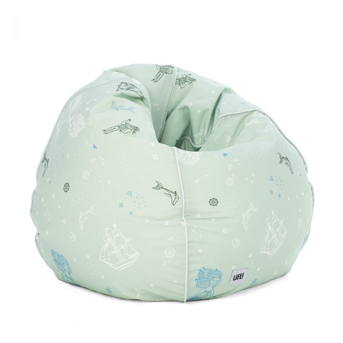 Sea of love teardrop bean bag. Soft green with kids nautical print including mermaids, dolphins and sailing ships