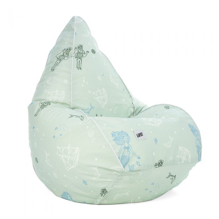 Sea of love teardrop shaped bean bag. Soft green base with blue, dark green and white print includes sailing ships, mermaids, fish and sailors