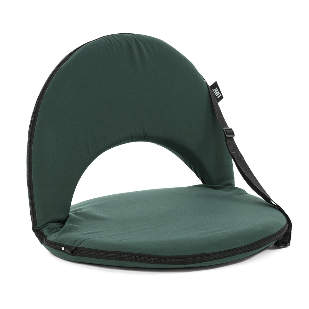 Oblique view of the forest green cushion recliner low seat