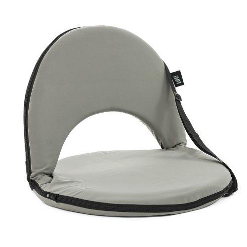 Oblique view of the ozark grey cushion recliner beach chair