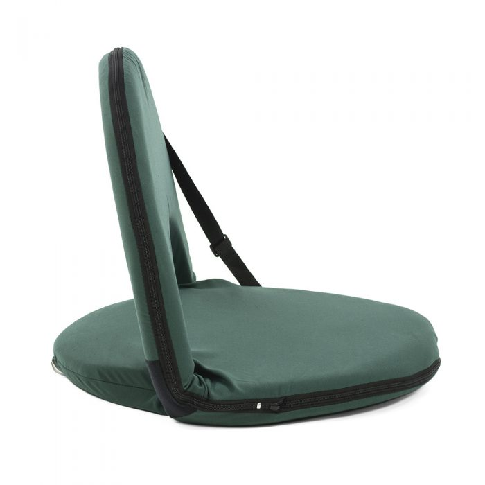 Side view of the forest green cushion recliner beach chair