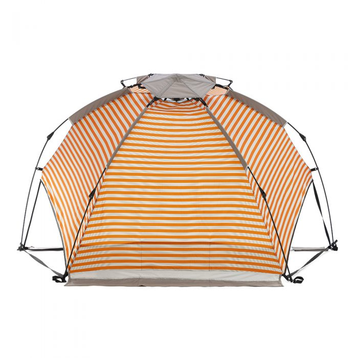 Retro sun shelter from the back showing the shape, print scale and sand pocket