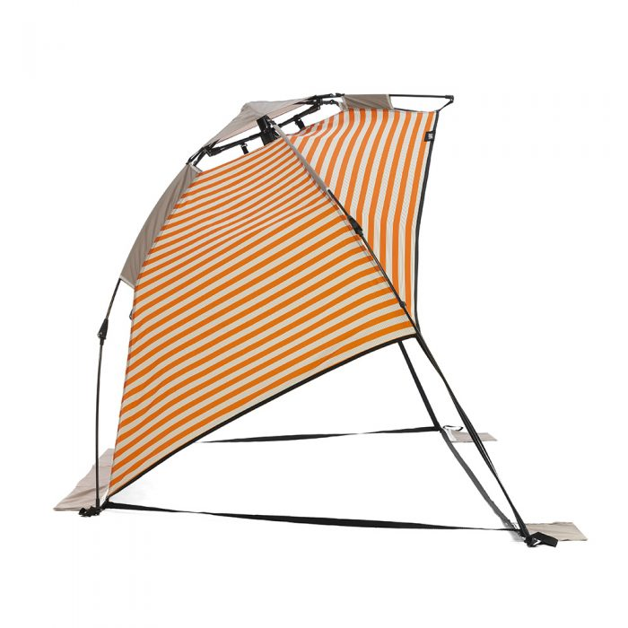 Side view of the retro stripe airlie sun shelter