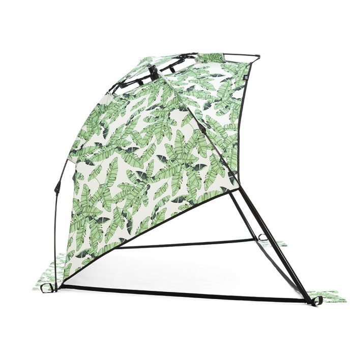 Side view of the tiki print airlie sun shelter beach shade