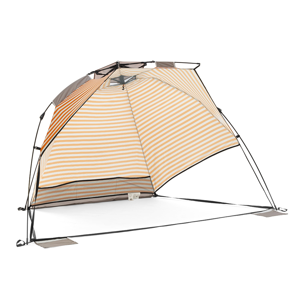 Oblique view of the retro airlie sun shelter beach shade