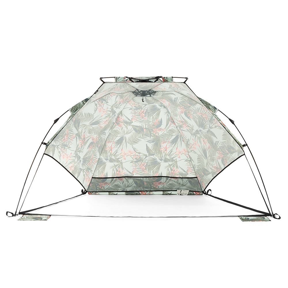 Front view of the waikiki airlie sun shelter. Storage pocket and hanging hook are visible
