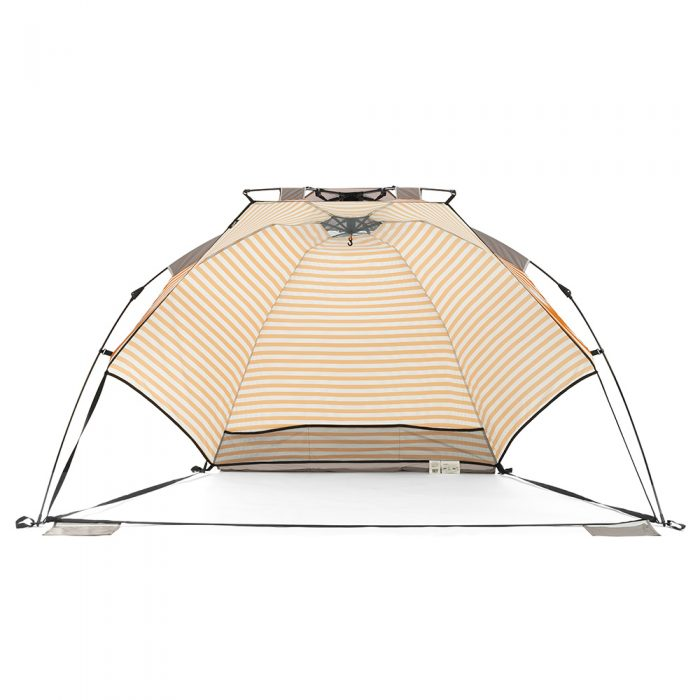 Front view of the retro airlie sun shelter. Storage pocket and hanging hook are visible