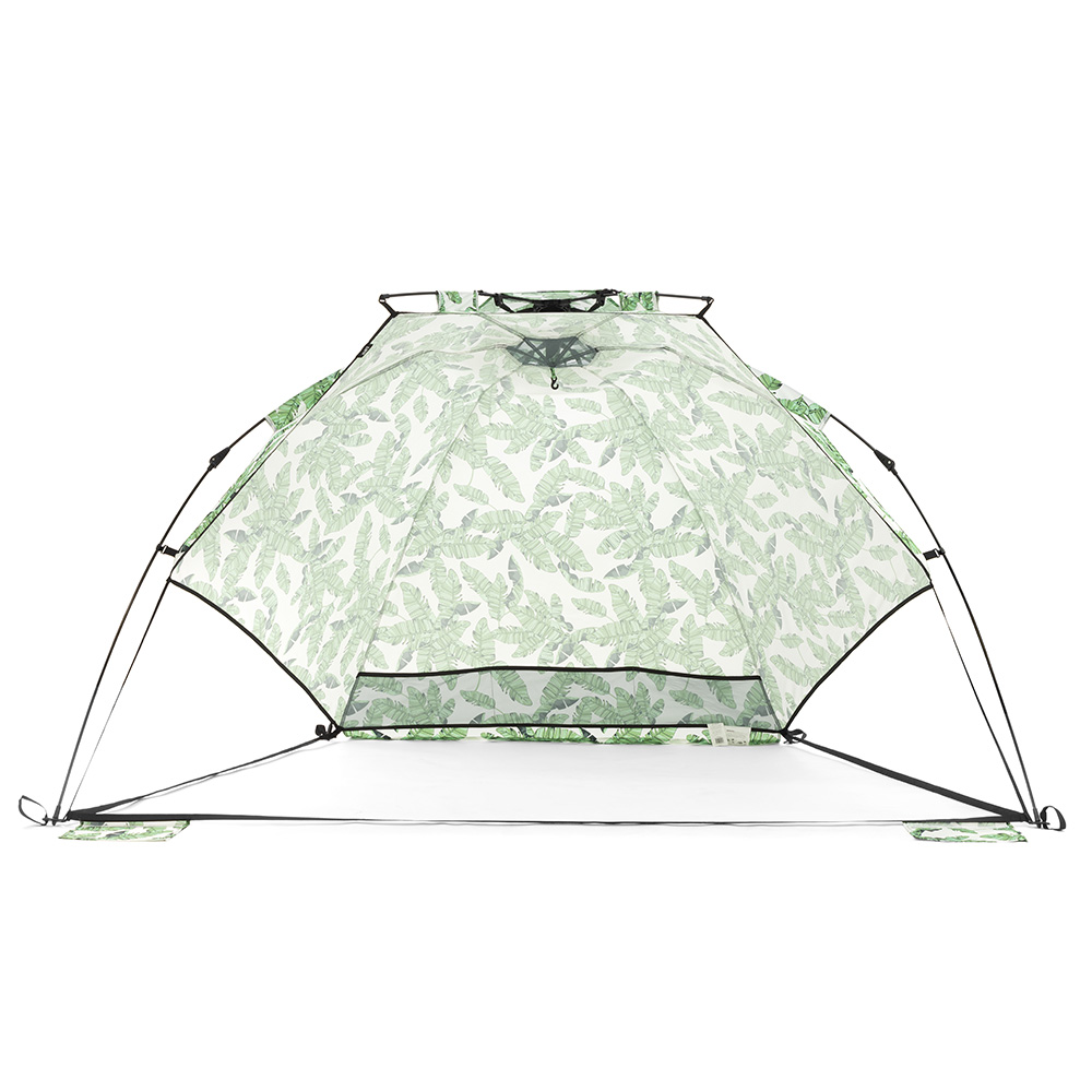 Front view of the tiki airlie sun shelter. Storage pocket and hanging hook are visible