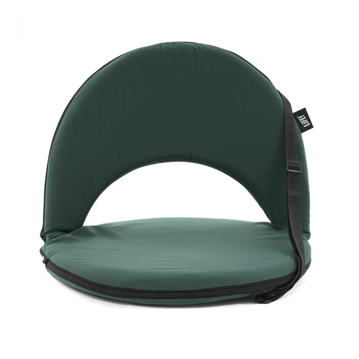 Front view of the dark forest green cushion recliner beach seat