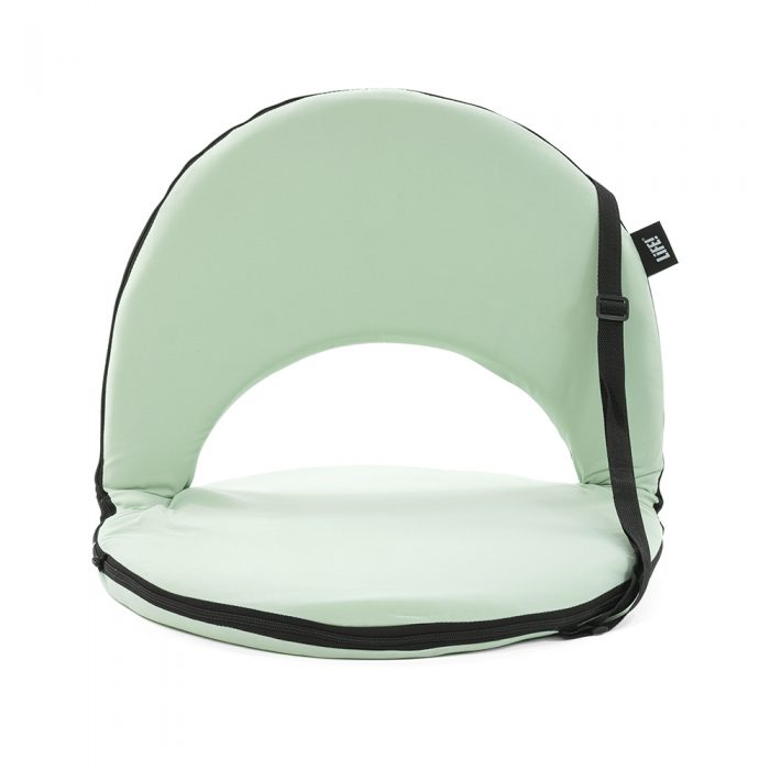Front view of the soft tropical light green cushion recliner beach chair