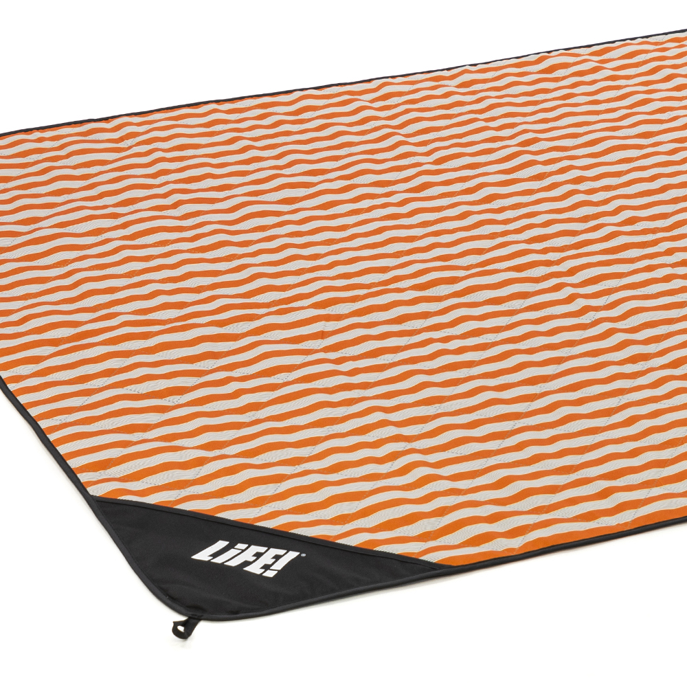 Oblique view of the retro stripe adventure mat picnic blanket.