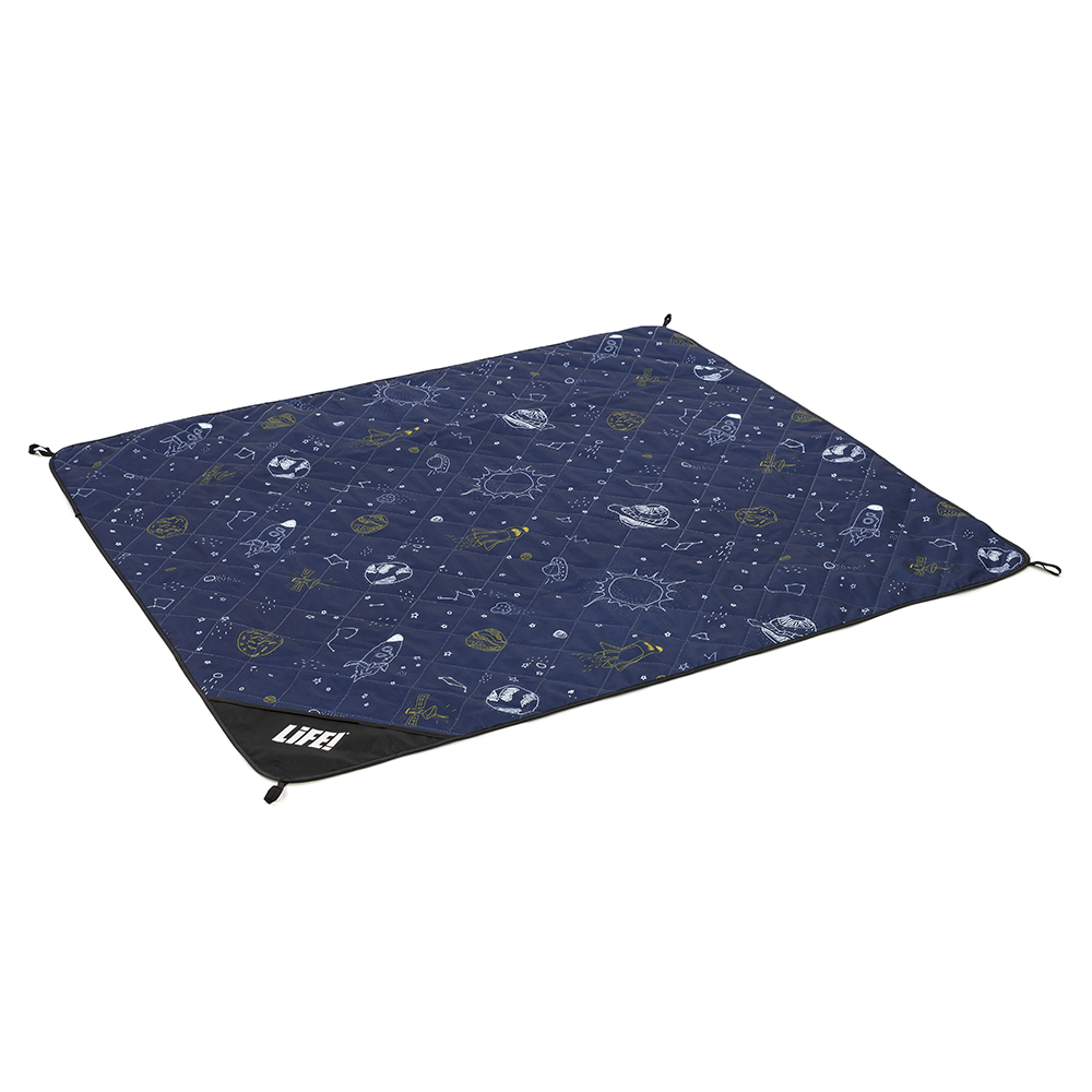 Oblique view of space buddy adventure mat showing handy corner loops. Dark blue with white and navy outer space print.