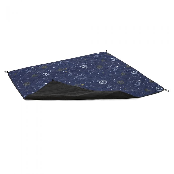 Oblique view of space buddy adventure mat showing an overturned corner. Dark blue with white and navy outer space print.