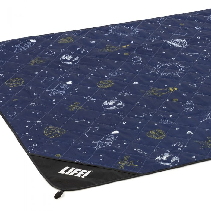Oblique view of space buddy adventure mat. Dark blue with white and navy outer space print.